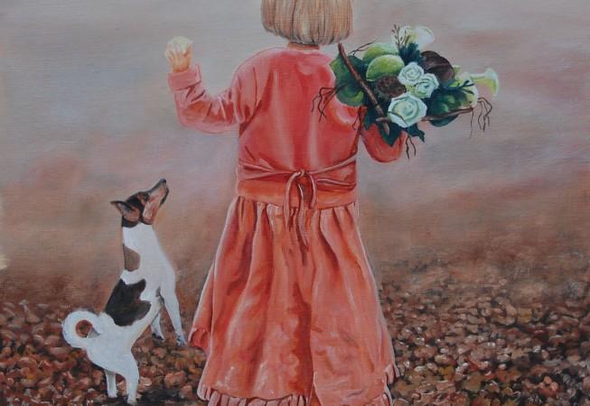 Meisje met een hondje en een boeket bloemen